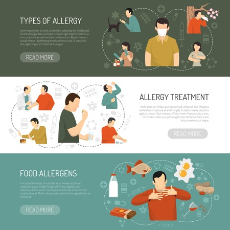 3 가로 색된 알레르기 배너 집합 알레르기 알레르기 치료 음식 알레르기 항 설명 벡터 일러스트 레이 션의 유형