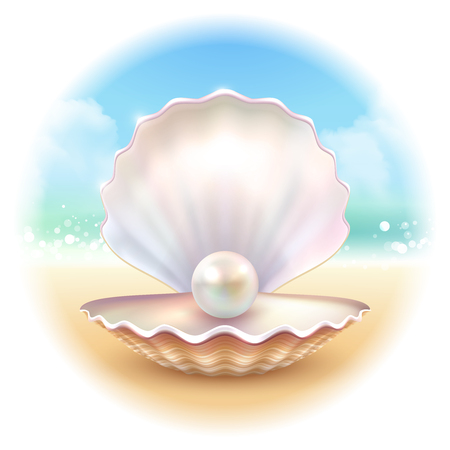 Realistic shell pearl on sandy surf beach image with summer sky inscribed in blurry round shape vector illustration