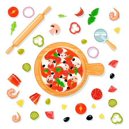 Top view pizza set composition in cartoon style with pizza on carving board and filler slices vector illustration