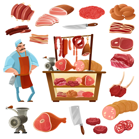 specials: Butcher cartoon set with meat sausage and knife isolated vector illustration