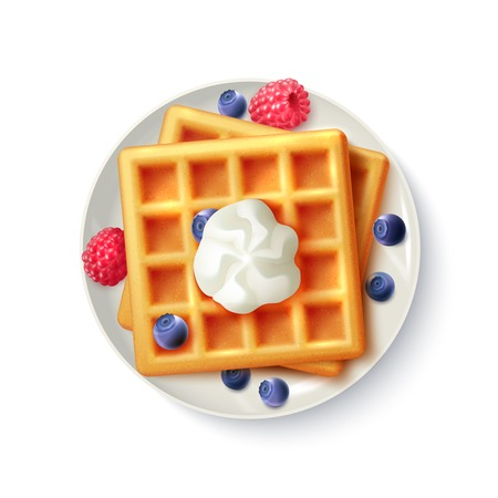 Breakfast menu item sweet belgian waffles with blueberry raspberry and cream realistic top view  plate image vector illustration Illustration