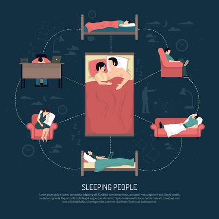 woman lying in bed: Sleeping people design concept with married couple laying in bed and young men and women resting in chair on couch and at table vector illustration