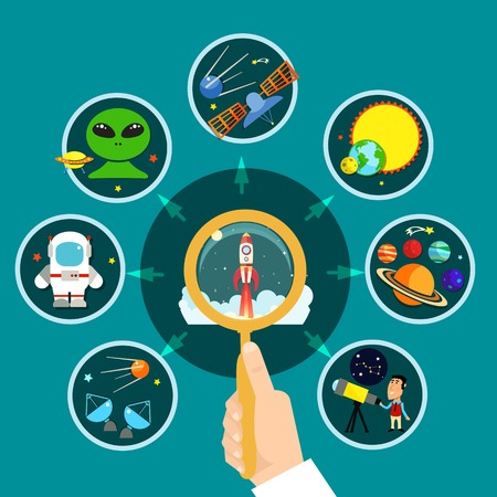 astronautics: Space concept with solar system spaceship and research symbols flat vector illustration
