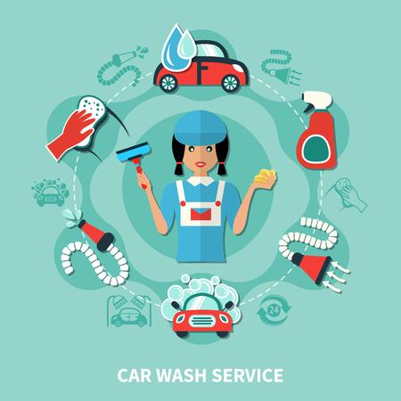 Autowasch-Service Runde Komposition mit Arbeiter Charakter Wasch- und professionelle Reinigung von Werkzeugen flache Bilder Vektor-Illustration