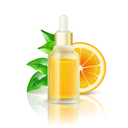 vitamin rich: Natural citrus fruits vitamin c transparent drop bottle with concentrated orange juice realistic image with reflection vector illustration