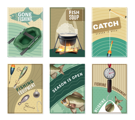 sinker: Freshwater fishing 6 mini posters collection with fisherman equipment pictures tactics tips and free recipes isolated vector illustration