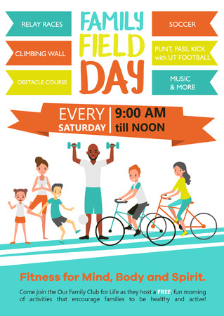 child sport: Family fitness template with active healthy sport parents and children in flat style vector illustration Illustration