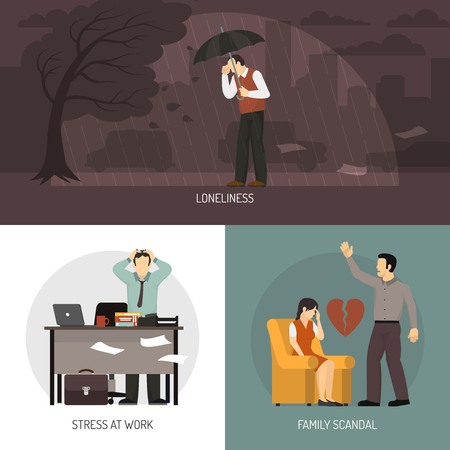 miserable: Depression 2x2 design concept with loneliness stress at work and family scandal compositions flat vector illustration