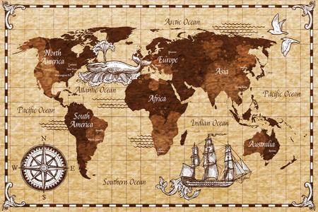 Retro mappa di mondo di schizzo disegnato a mano con l'illustrazione di vettore di scarabocchio dell'iscrizione Archivio Fotografico - 70330006