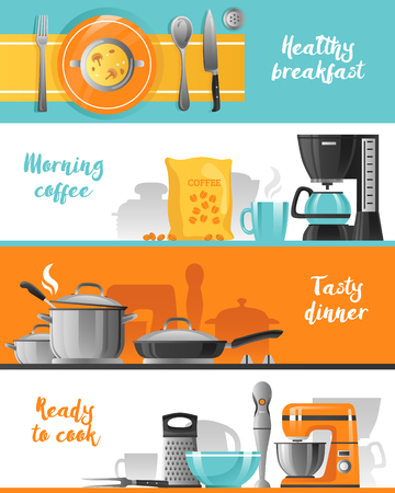 cooking utensil: Kitchen utensil flat horizontal banners collection with tableware for breakfast coffee machine mixer blender and kitchenware for cooking vector illustration Illustration