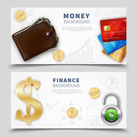 yuan: Realistic money horizontal banners with leather wallet colorful bank cards padlock dollar sign gold coins vector illustration