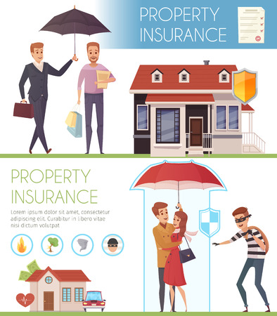 people problems: Property insurance horizontal banners with people under umbrella as symbol protection  from life problems  flat vector illustration Illustration