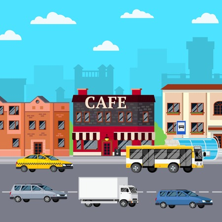 orthogonal: Street cafe composition with orthogonal images of storefront city buildings bus stop cars on carriage way vector illustration