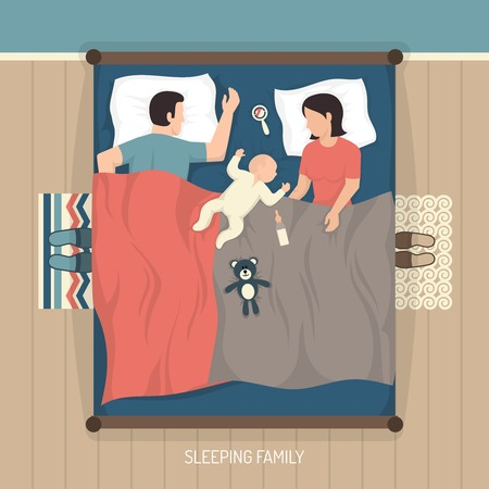 woman lying in bed: Top view of young family sleeping at home on double bed with nursing baby flat vector illustration Illustration