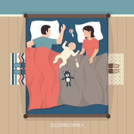 Vue de dessus jeune dormir famille à la maison sur le lit double avec un vecteur plat soins infirmiers bébé illustration