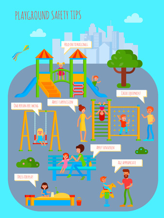 Playground infographics with flat colorful cartoon childrens playground urban scenery people characters and rectangular thought bubbles vector illustration Illustration