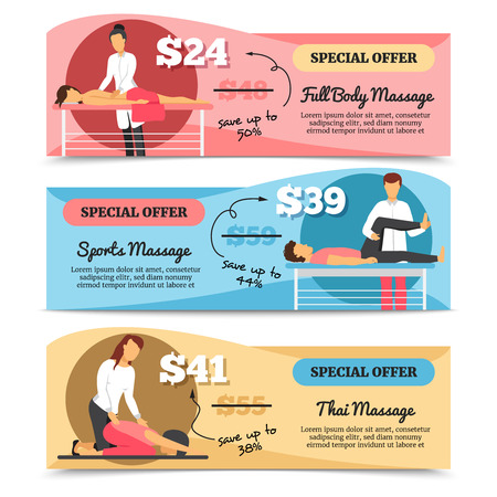 massage therapist: Flat design horizontal various types of massage and health care special offer banners isolated on white background vector illustration