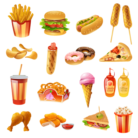 Fast food restaurant menu colorful icons collection with hotdog pizza chicken drumsticks ketchup and milkshake isolated vector illustration