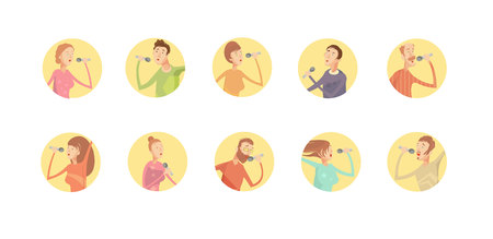 inscribed: Set of ten round isolated karaoke party icons with inscribed young singing men and women characters vector illustration
