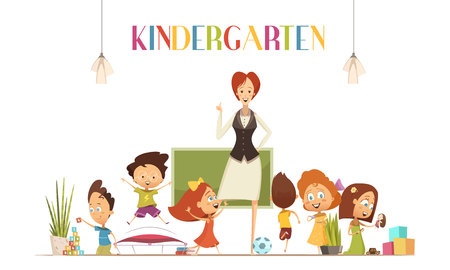 coordinates: Kindergarten teacher in positive classroom environment coordinates children activities for effective learning retro cartoon poster illustration vector