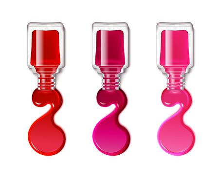 Taches colorées de vernis à ongles découlant de contenants ouverts isolés sur fond blanc illustration vectorielle réaliste