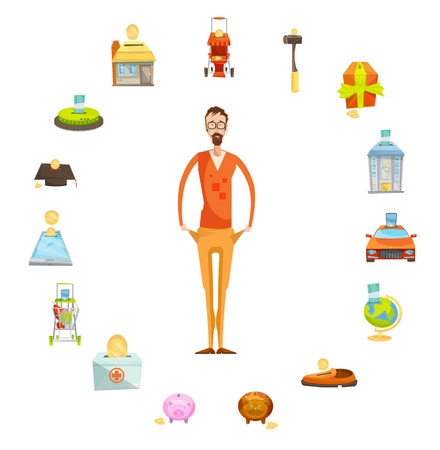 valuable: Family budget composition of full length male character with empty pockets surrounded by valuable things circle vector illustration