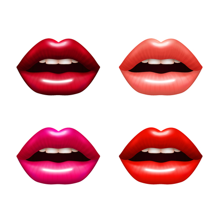 mujeres fashion: Woman lips  realistic set with bright coloring isolated vector illustration