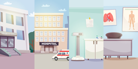 car care center: Medicine vertical banners with medical center hospital ambulance car and doctor offices vector illustration