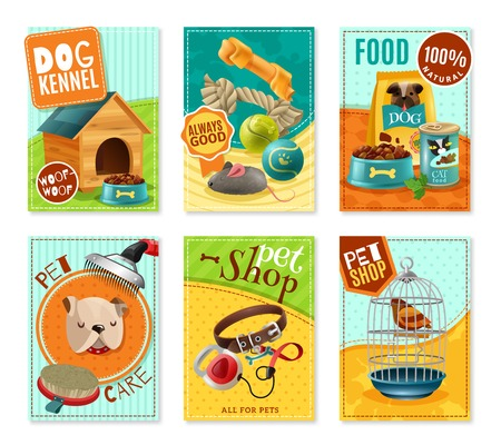 petshop: Affordable pet care store advertisement 6 mini banners collection with healthy food and accessories isolated vector illustration