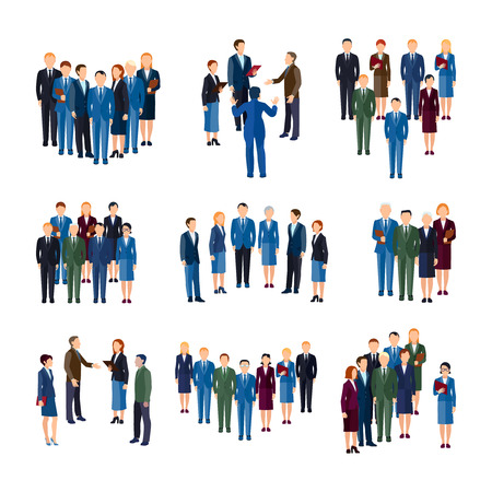 Businessmen and women professionals formally dressed working in office  people groups flat icons collection isolated vector illustration Illusztráció