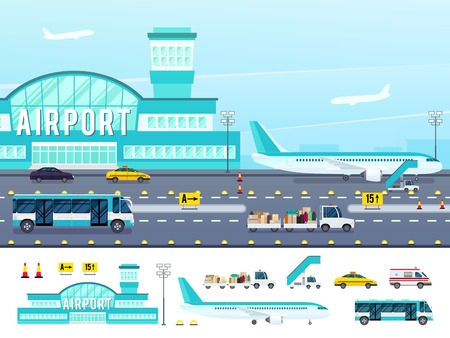 Airport with runway lighting equipment vehicles for travelers truck with baggage ladder flat style isolated vector illustration
