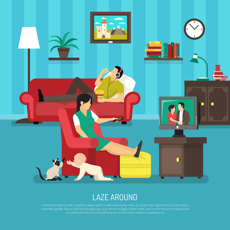 watching: Lazy people design with kid near woman watching tv and man in headphone on sofa vector illustration