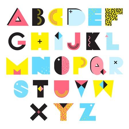 Buntes Alphabet in Memphis-Art mit hellen geometrischen Elementen der Beschaffenheiten und der Verzierungen lokalisierte Vektorillustration Standard-Bild - 70887978