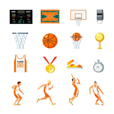 orthogonal: Basketball orthogonal icons set with players trophies whistle stopwatch backboard court and sports uniform isolated vector illustration