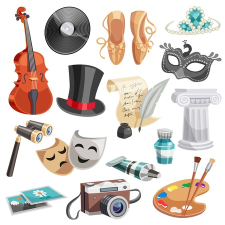 Culture and arts set including violin palette ballet shoes theatrical masks feather and paper isolated vector illustration