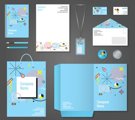 papeleria: Conjunto de artículos de papelería identidad corporativa estilo Memphis incluyendo la tarjeta de visita el bloc de notas con membrete y la ilustración vectorial aislado insignia