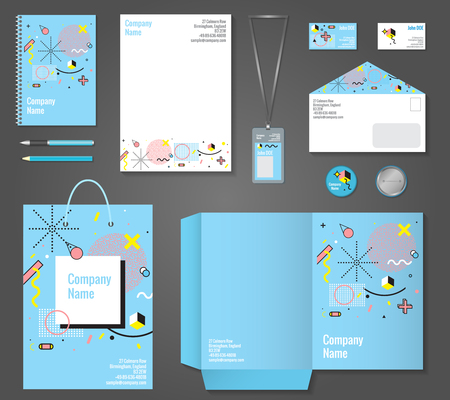 printed: Set of stationery corporate identity memphis style including letterhead notepad business card and badge isolated vector illustration Illustration
