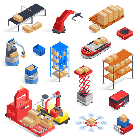 Automatic logistics warehouse robots isolated isometric icons set with material handling conveyor lifters drones shelves manipulators vector illustration