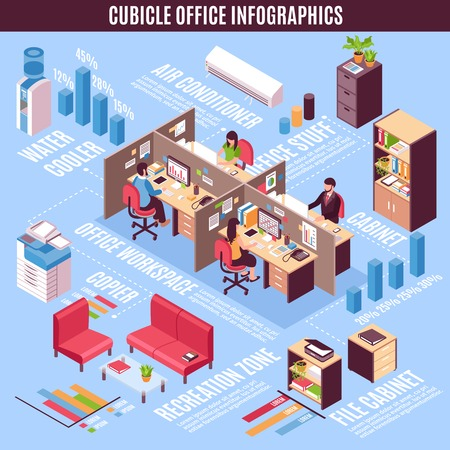 office space: Cubicle office infographics isometric layout with water coolers copier conditioner recreation zones and workplace cabinets  vector illustration