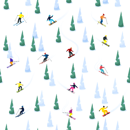 Ski seamless decorative pattern with small isolated figures of skiers ice and trees on blank background vector illustration