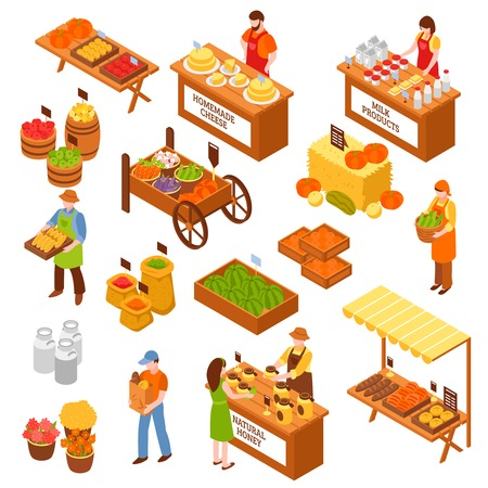 우유 제품을 판매하는 농부와 음식 카운터의 시장 아이소 메트릭 세트 자연 꿀 수 제 치즈 과일 및 야채 격리 된 벡터 일러스트