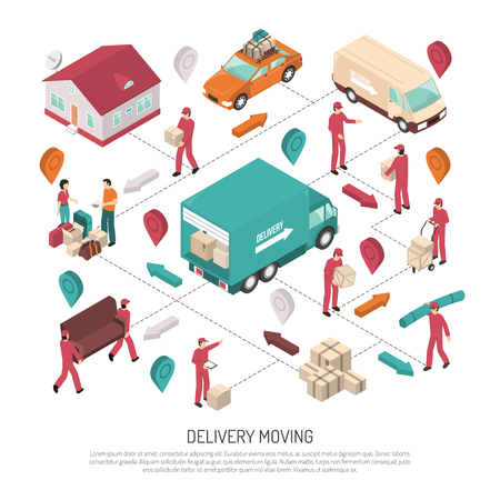 path ways: Colored isometric delivery moving composition with path and ways of delivery by workers vector illustration