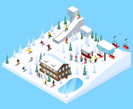 Mountain resort village isometric landscape constructor element with scaled down skiers trees houses ski jump ramps vector illustration