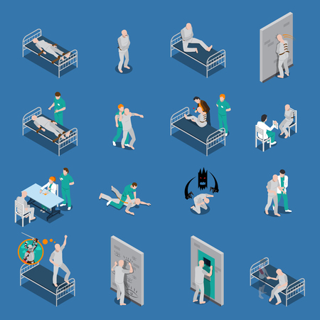 couches: Isometric set with mental patients on couches and with medical staff on blue background isolated vector illustration