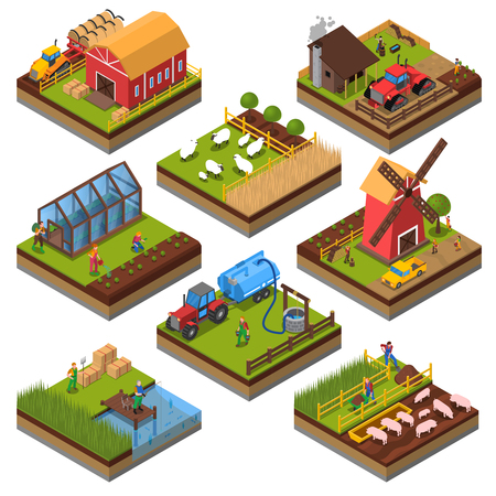 Agricultural compositions isometric set with farm buildings and vehicles livestock and fishing cultivated lands isolated vector illustration