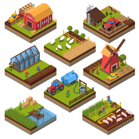 Las composiciones agrícolas isométrica conjunto con los edificios agrícolas y vehículos de ganado y tierras cultivadas de pesca aislado ilustración vectorial