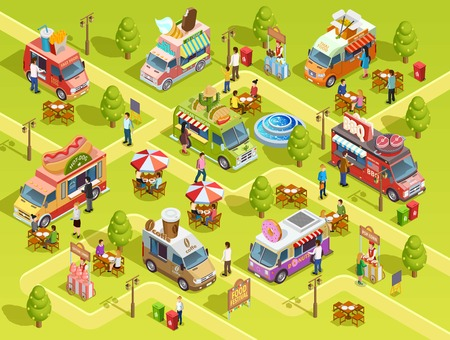 Street food trucks selling bbq hotdogs donuts tacos outdoor in park area isometric composition poster vector illustration