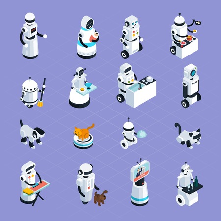 Home robots collection helping and replacing people in different activities in isometric style isolated vector illustration Illustration