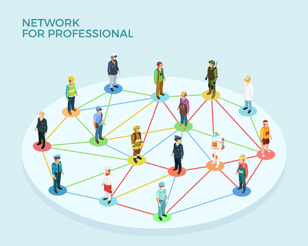 jobs people: Network professional isometric concept with people of various occupations and jobs isolated vector illustration