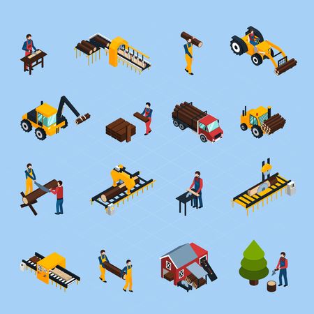 Sawmill isometric icons set of woodworking machinery working loggers and vehicles for timber transportation isolated vector illustration Illustration